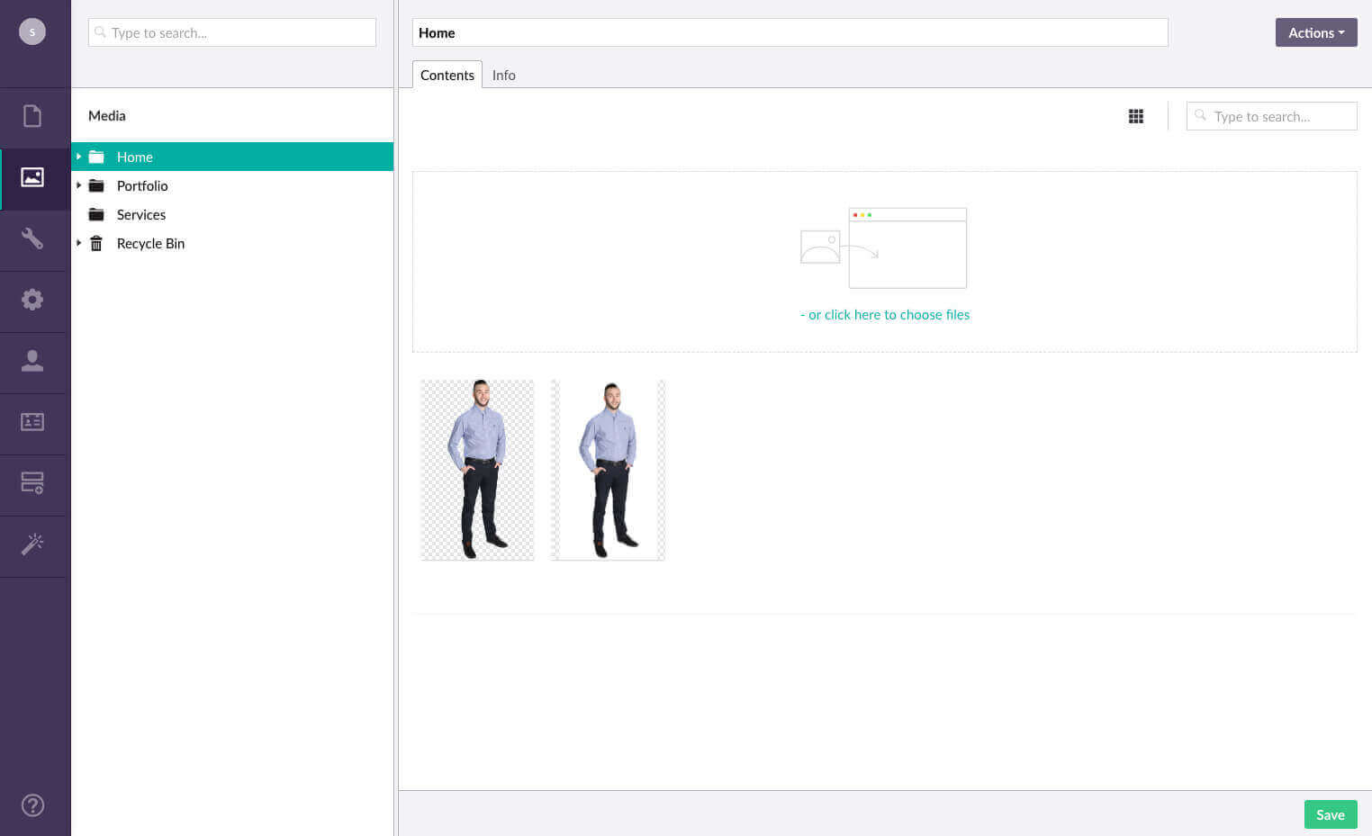 Easy to add images. Simply drag your images into the media tab in Umbraco.